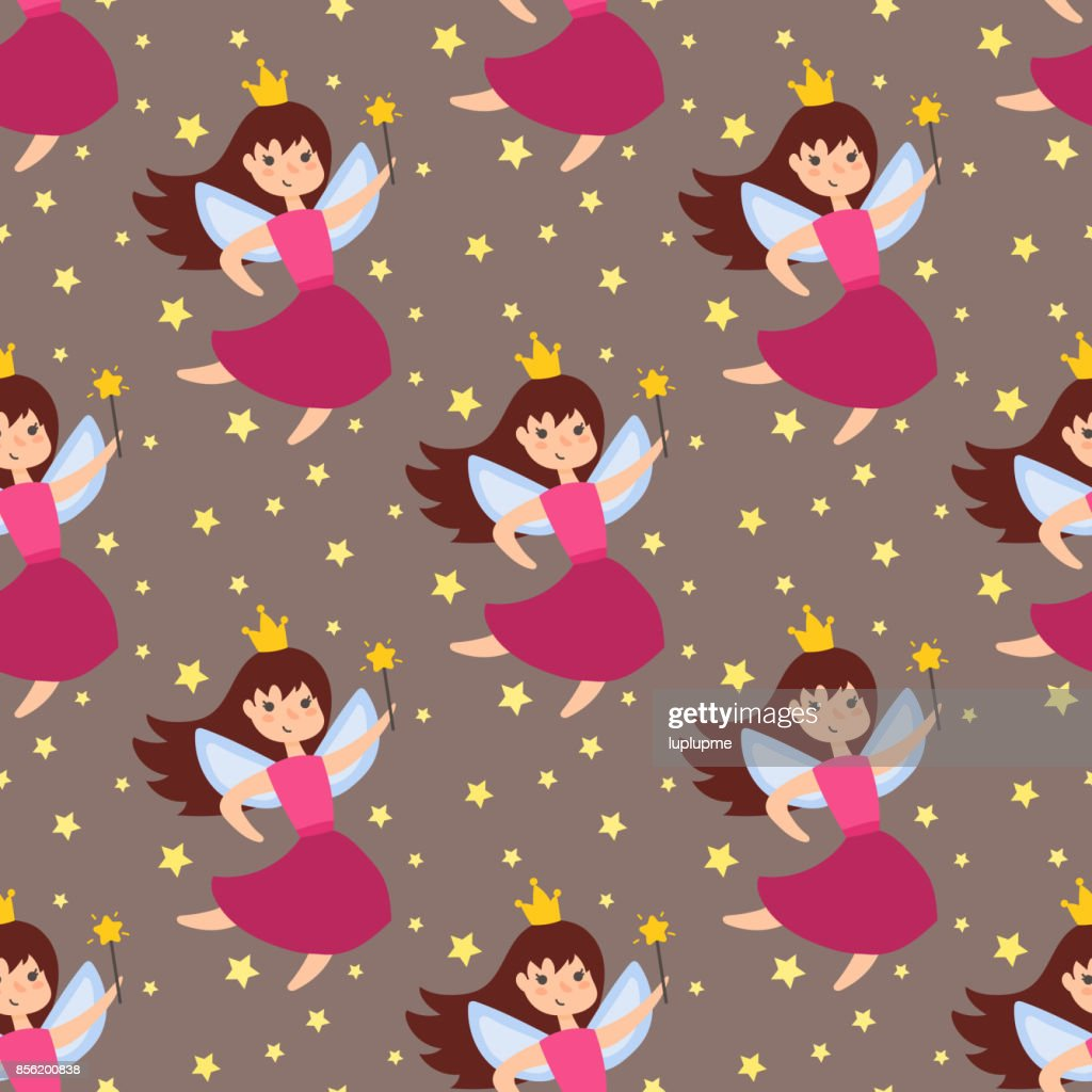 Fairy princess adorable characters seamless pattern background imagination beauty angel girls with wings vector illustration