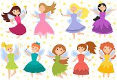 Fairy princess adorable characters vector.