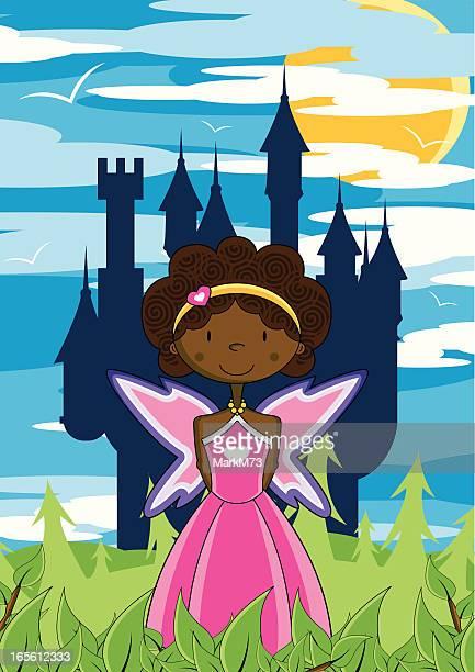 ilustrações, clipart, desenhos animados e ícones de princesa fada & castelo encantado - cartoon characters with curly hair