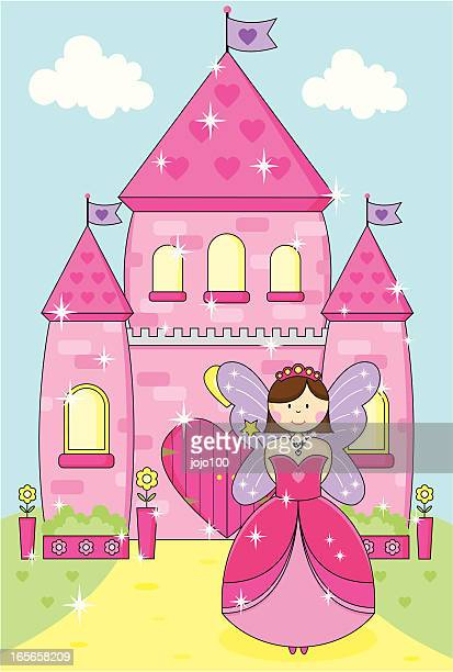 Fairy Princess With Wand and Sparkly Pink Enchanted Palace.