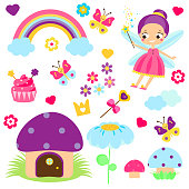 Fairy set. Collection of cartoon fairy tale design elements. Rainbow, mushroom house, forest symbols. Stickers, clip art for girls for scrapbook, party, mobile applications