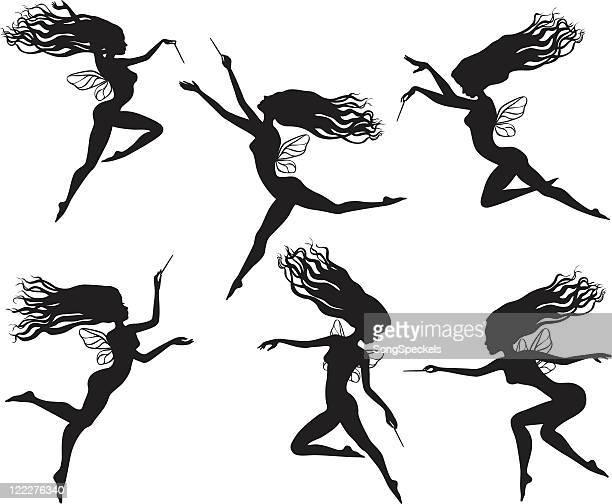 fairy silhouettes with long hair and wands - animal body stock illustrations, clip art, cartoons, & icons