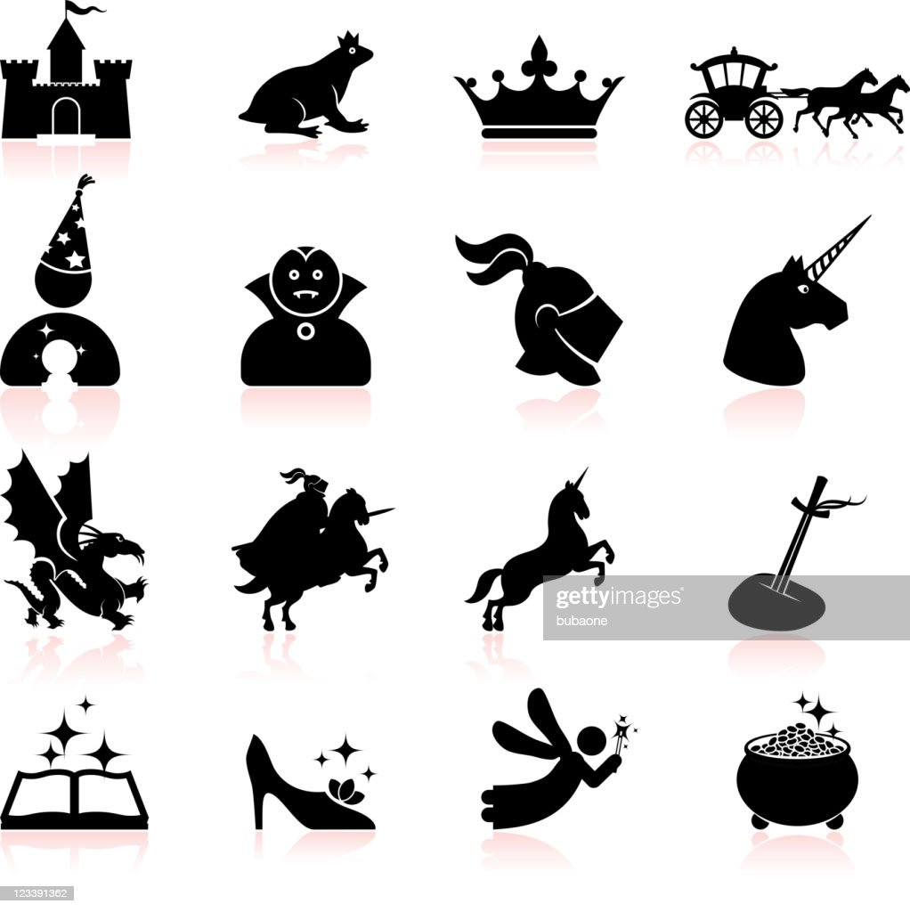 Fairy tale black and white royalty free vector icon set