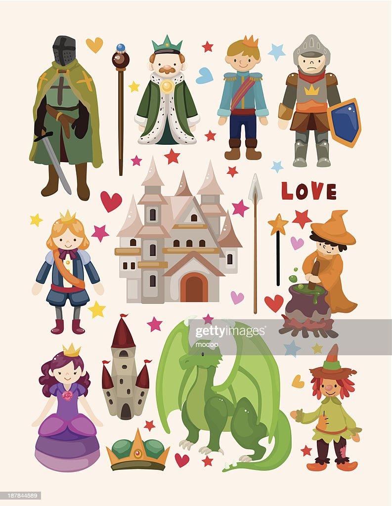 Fairy tale cartoon icons on beige background