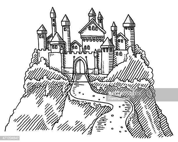 fairy tale castle drawing - castle stock illustrations
