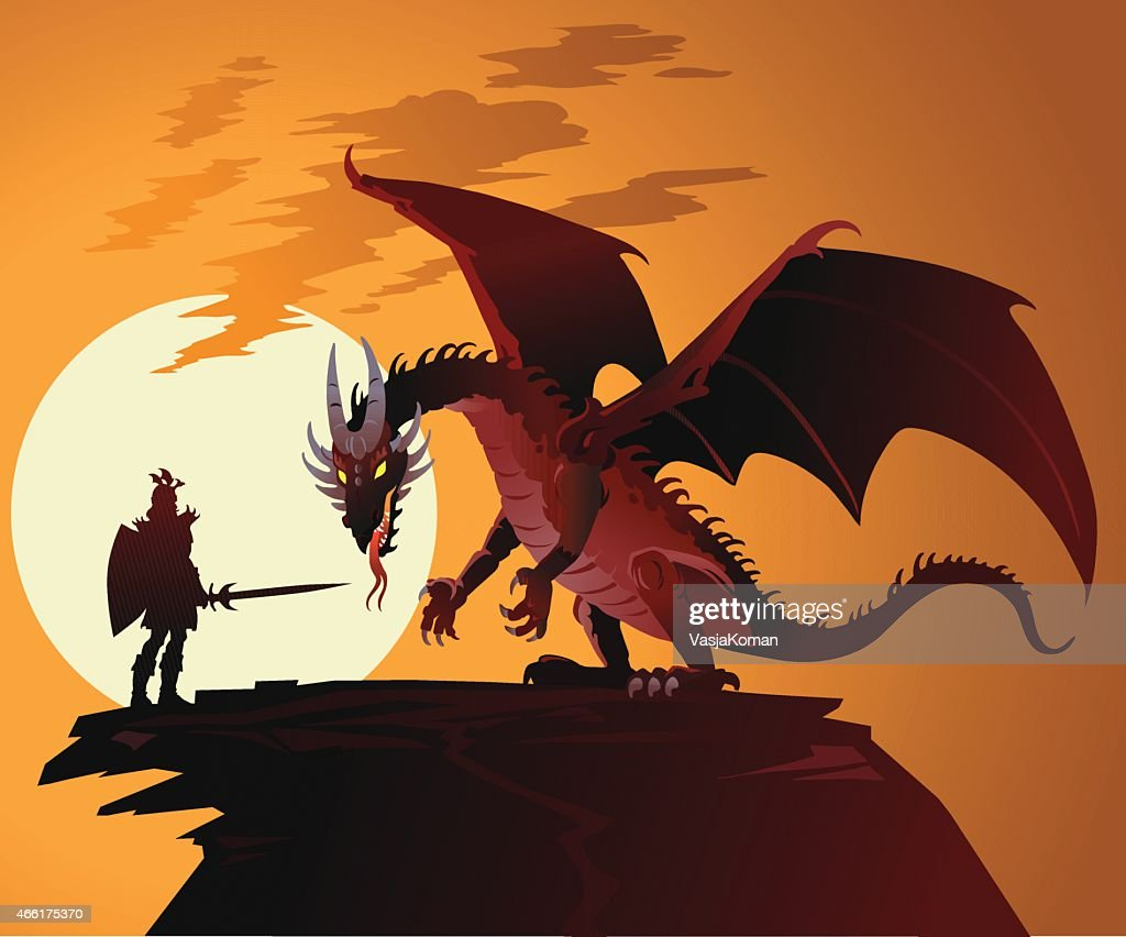 Fairy Tale Dragon Against Dragonslayer