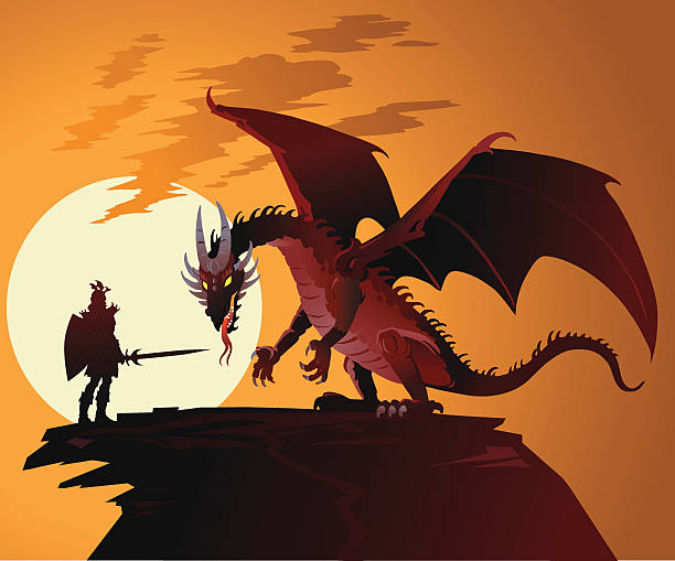 fairy tale dragon against dragonslayer - fantasy stock illustrations