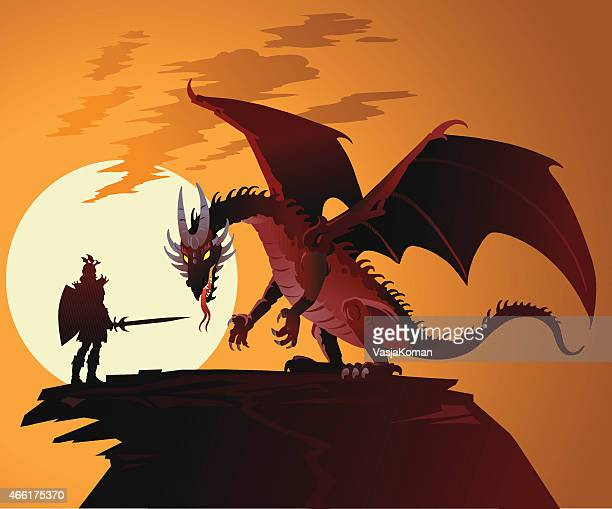 fairy tale dragon against dragonslayer - fantasy stock illustrations