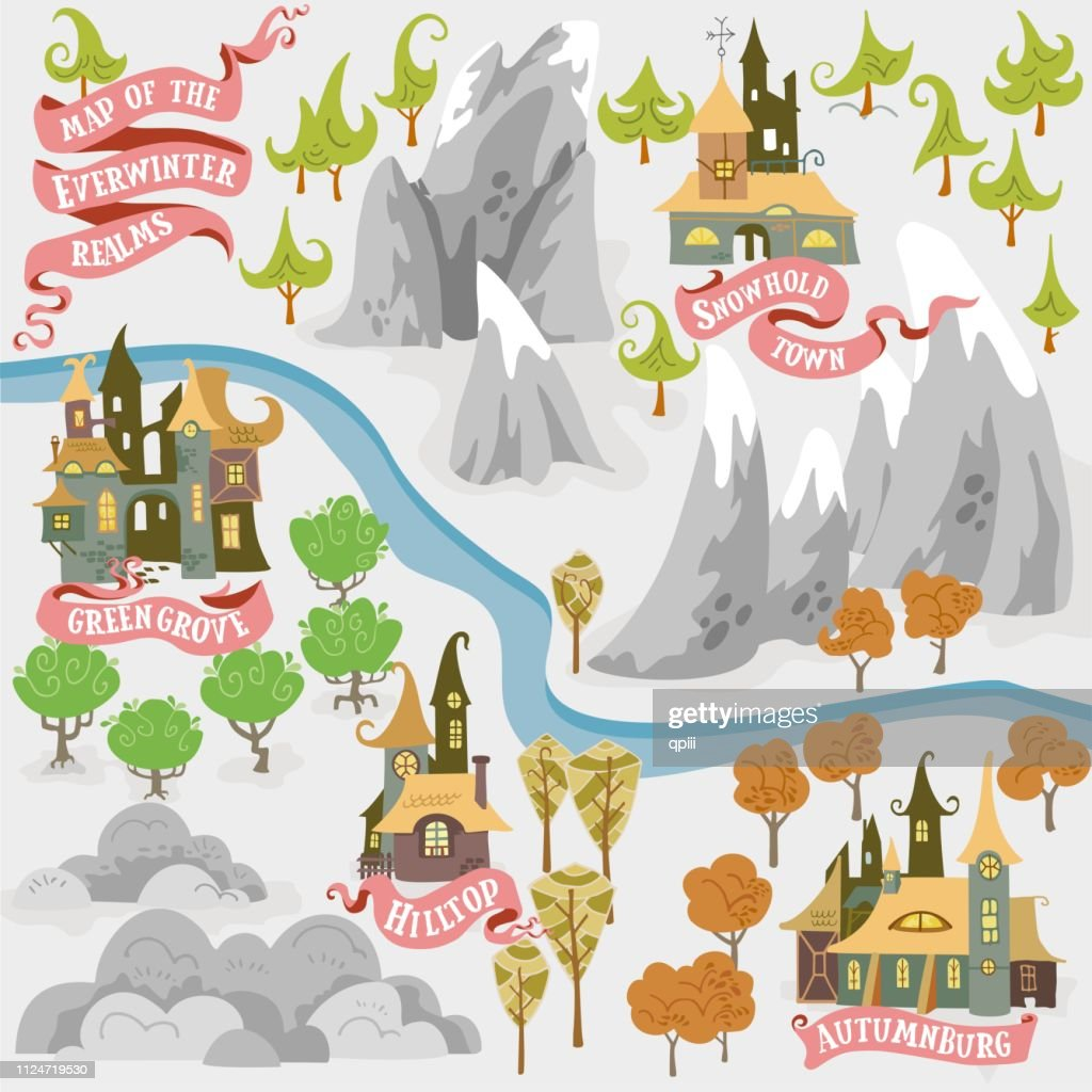 Fairy tale fantasy map builder set of Everwinter Realm and City states in colorfule vector illustrations
