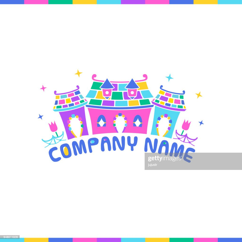 Fairy tale houses. Cartoon playful logo for kinder garden, kids entertainment field, toys, children products