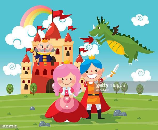 illustrazioni stock, clip art, cartoni animati e icone di tendenza di fiaba età medievale - principessa