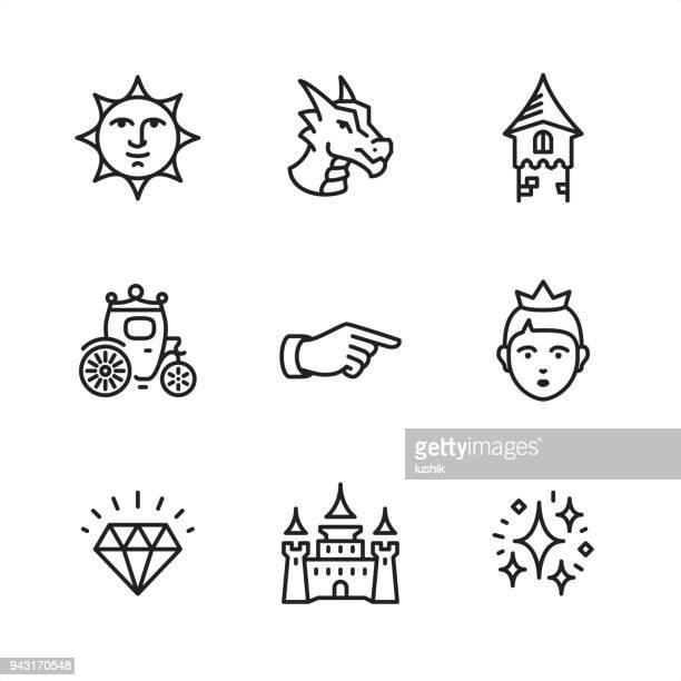 ilustrações, clipart, desenhos animados e ícones de conto de fadas - ícones de contorno perfeito de pixel - castelo