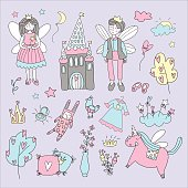 Fairy tale set with with winged characters, the castle, unicorn. Doodle vector illustration.