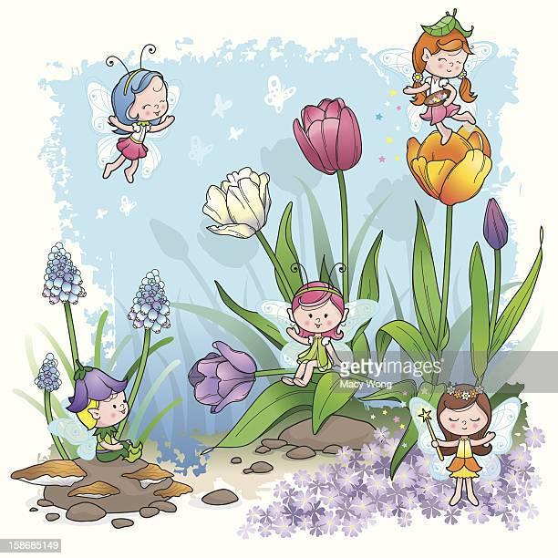 fairy tale spring pixie elf - fairy stock illustrations