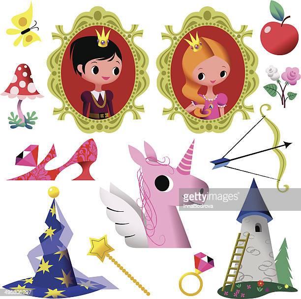 ilustrações de stock, clip art, desenhos animados e ícones de conto de fadas símbolo colecção. - príncipe pessoa real