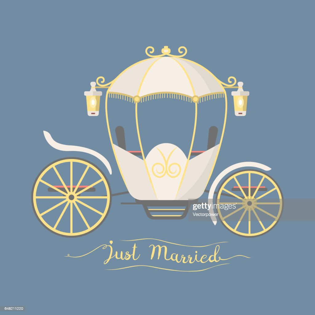 Fairy tale vintage carriage decoration royal element retro wedding coach with classic elegant accessory vector illustration