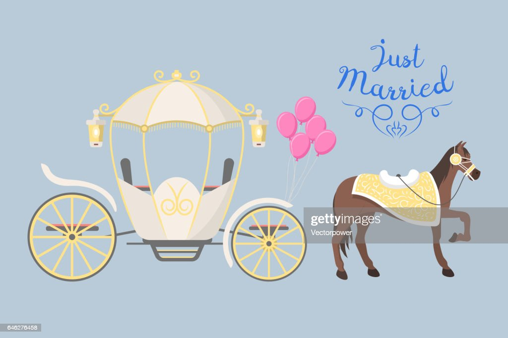 Fairy tale vintage carriage decoration with cute fashion horse royal element and princess retro wedding coach with classic elegant accessory vector illustration