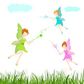 Fairy tales concept with flying fairies.