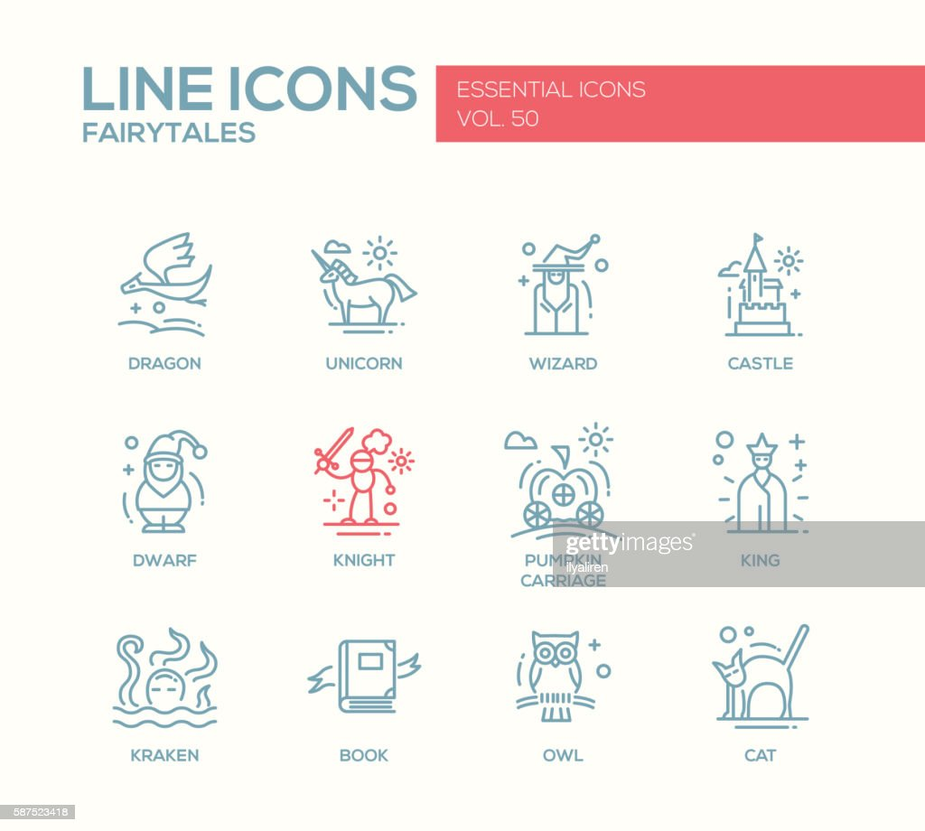 Fairy Tales- flat design line icons set