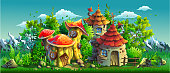 Fairy tales village with small houses. Vector illustration.