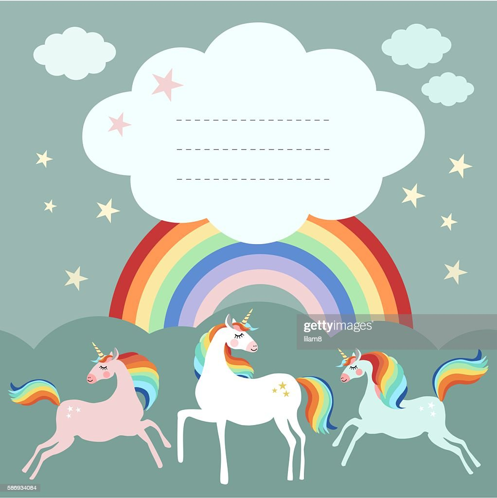 Fairy unicorn birthday party greeting card, invitation with rainbow