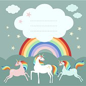 Fairy unicorn birthday party greeting card, invitation with rainbow