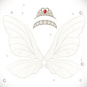 Fairy white wings with tiaras bundled