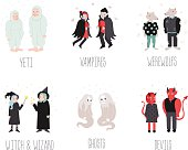 Fairytaile and fantastic cartoon creatures and monsters vector set.