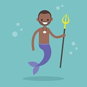Fairytale black merman holding a trident