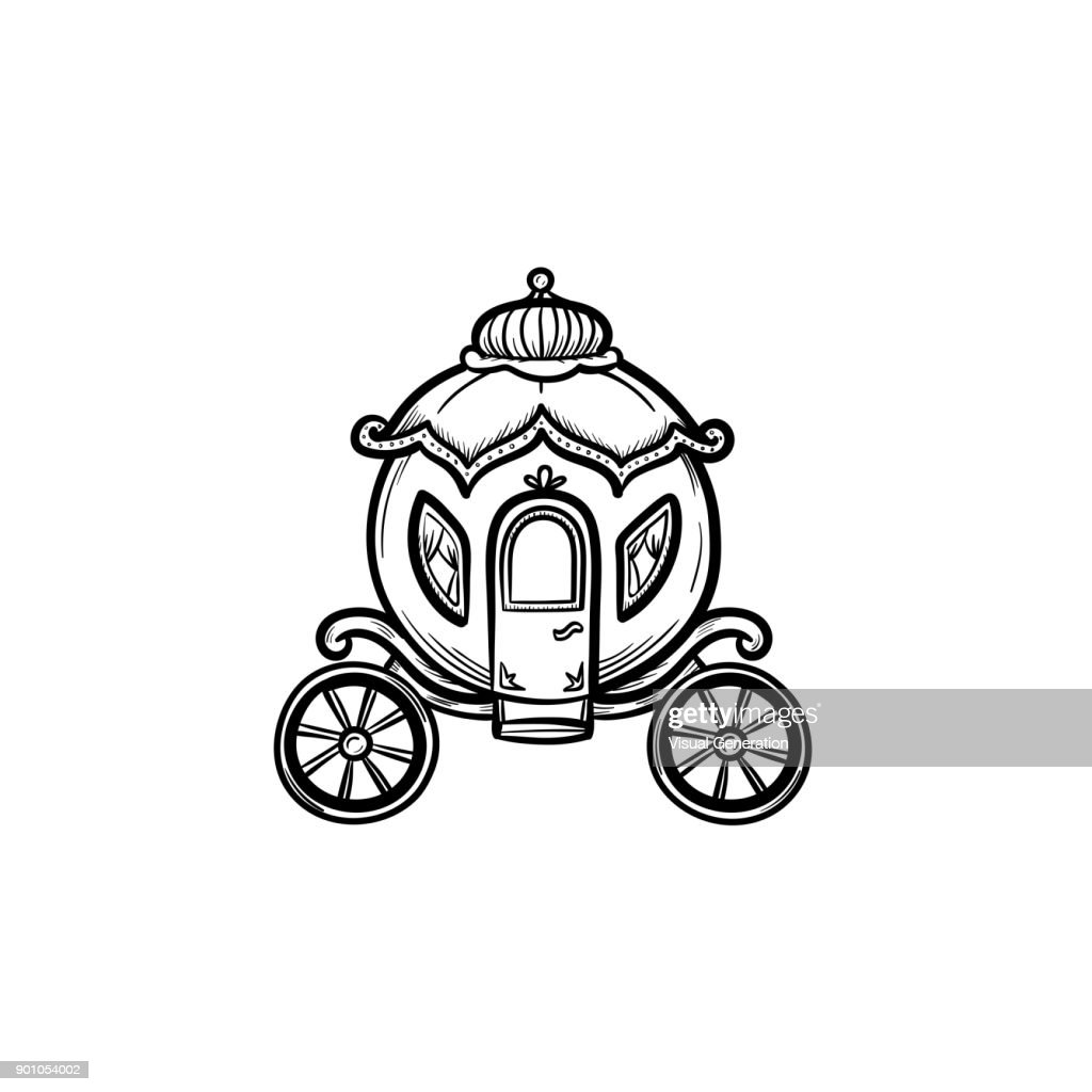 Fairytale carriage hand drawn sketch icon