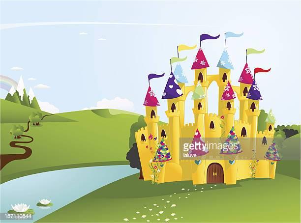fairytale castle - castle stock illustrations, clip art, cartoons, & icons