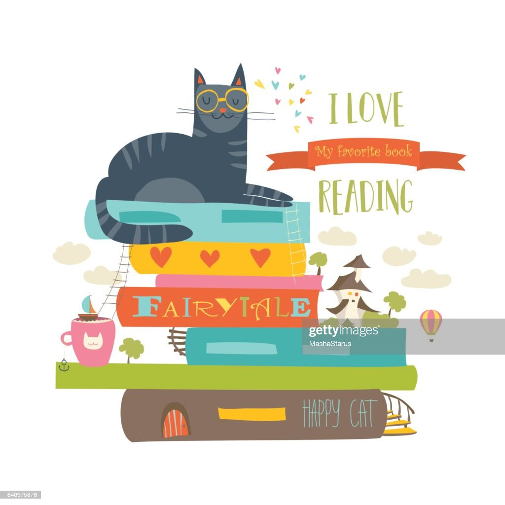 Fairytale concept with book and cat