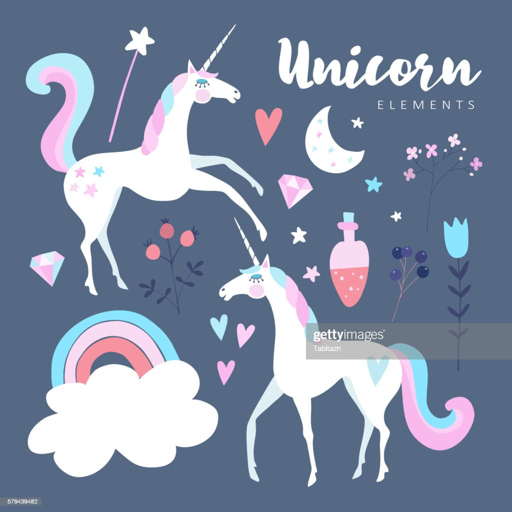 Fairytale elements. Unicorn with rainbow, stars, cloud, magic potion, flowers.
