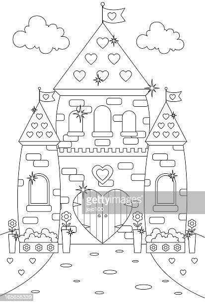 Fairytale Enchanted Sparkly Princess Castle/Palace to Color In.