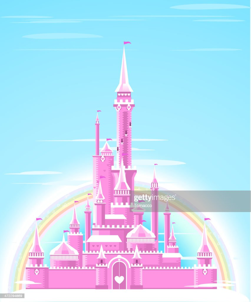 Fairytale Pink Shining Sparkly Palace Castle Fortress with Rainbow
