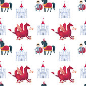 fairytale prince and dragon pattern
