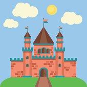 Fairytale princess castle vector.