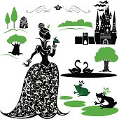 Fairytale Set - silhouettes of Princess and frog, castle, forest