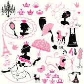 Fairytale Set - silhouettes of princess girls