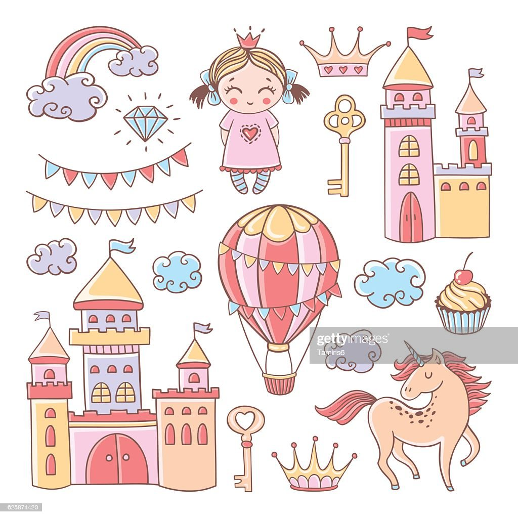 Fairytale set with castles, hot air balloonand unicorn