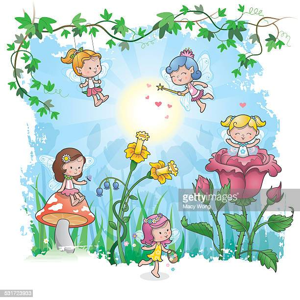 fairytale spring - fairy stock illustrations