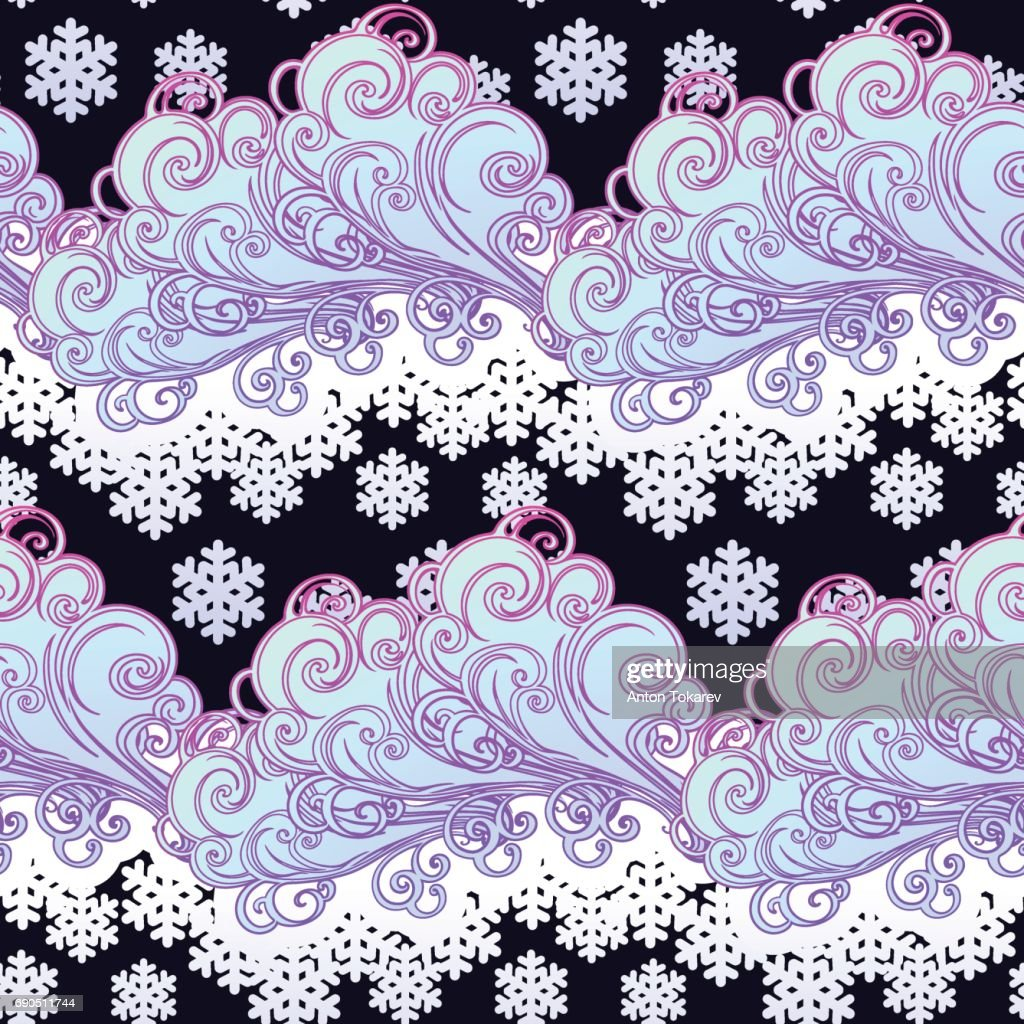 Fairytale style winter festive seamless pattern. Curly ornate clouds with a falling snowflakes. Christmas mood. Pastel palette
