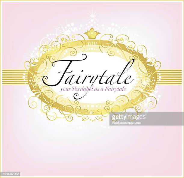 Fairytaletextlabel-Decoration (Pink with Goldcover).