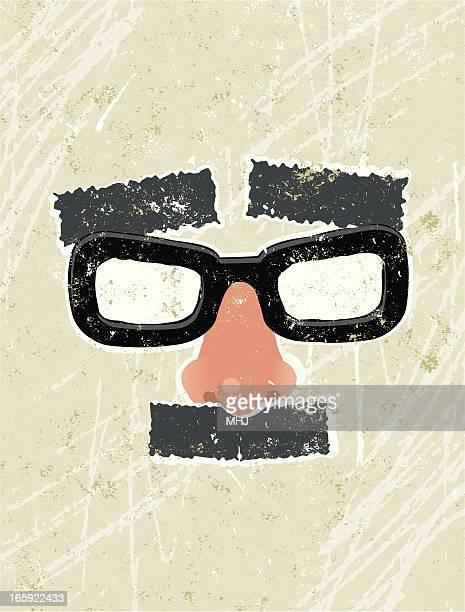 ilustrações, clipart, desenhos animados e ícones de estampas, óculos e bigode e sobrancelha disfarce - nariz