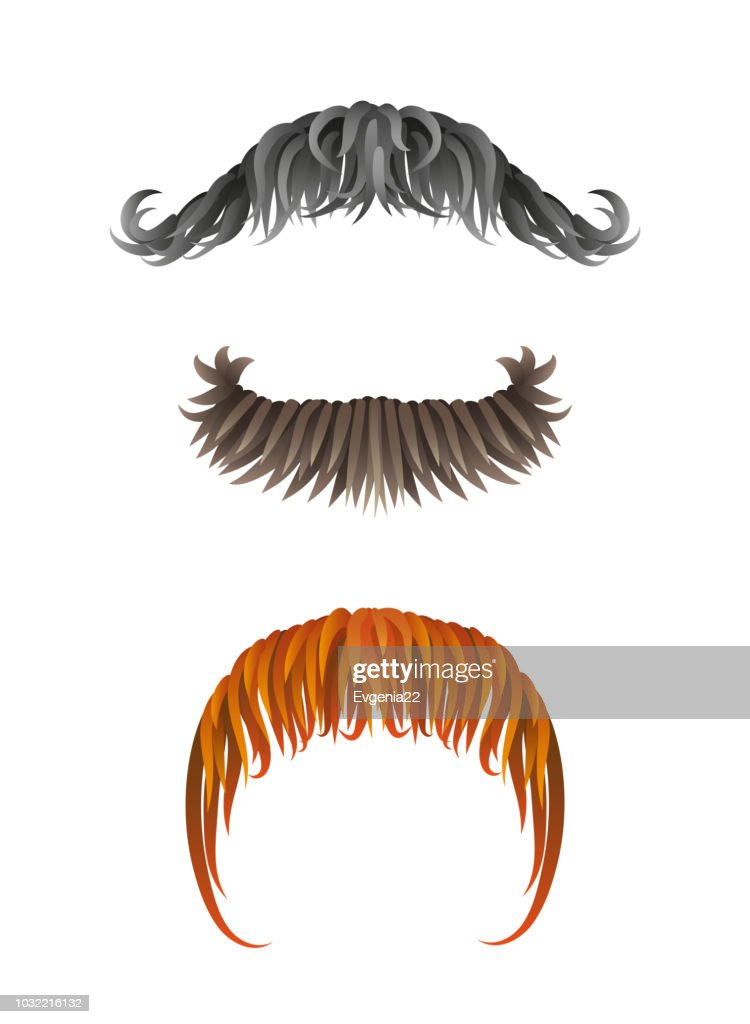 Fake hand drawn mustaches. Collection of moustache .