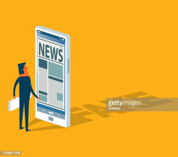 ilustraciones, imágenes clip art, dibujos animados e iconos de stock de noticias falsas y engaño - fake news