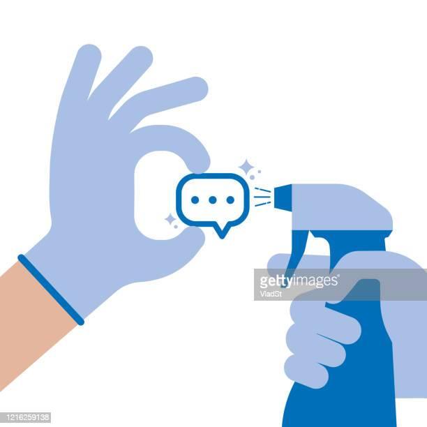ilustrações, clipart, desenhos animados e ícones de fake news censura online comentários desinfecção conceito de liberdade de expressão - fake news