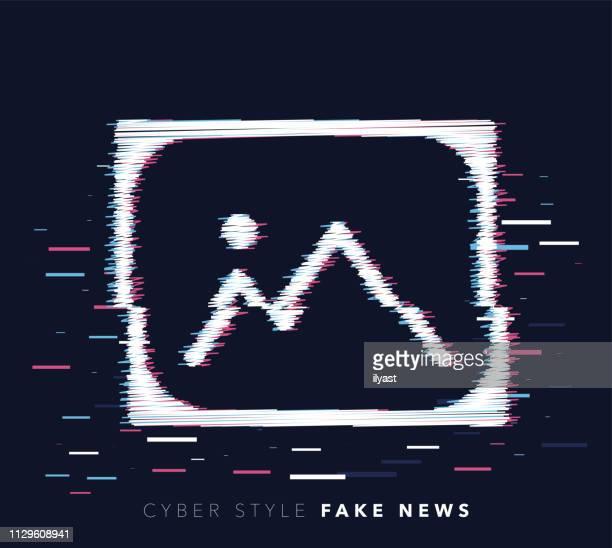 ilustrações, clipart, desenhos animados e ícones de falsificados notícias falha efeito vector icon ilustração - fake news