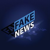 Fake News headline in blue dotted world map background. Isometric Vector illustration