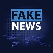 Fake News headline in blue dotted world map background. Vector illustration